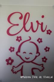 Geboorte raambord baby met bloemen