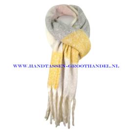 N60 sjaal 1862 geel/grijs/roze
