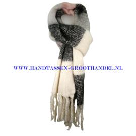 N60 sjaal 1862 zwart/grijs/roze