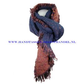 N60 sjaal 1854 blauw/brique (bruin)
