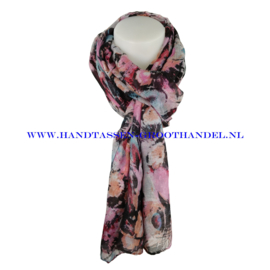 N7 sjaal 6236 roze - zwart
