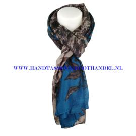 N7 sjaal 1007 taupe - petrol (blauw)