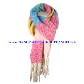 N60 sjaal 1862 roze/geel/groen