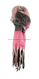 N15 sjaal 1902 zwart-fuchsia (roze)