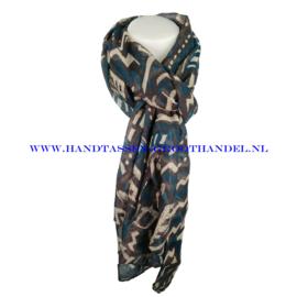 N7 sjaal 1008 bruin - petrol (blauw)