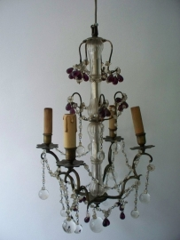 Antieke Franse kroonluchter met druiventrosjes