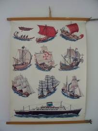 Oude schoolplaat met boten / schepen SOLD
