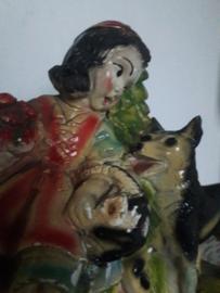 Oud beeld van rood kapje en de boze wolf