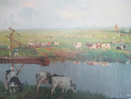 Oude schoolplaat van een weidelandschap bij Schiedam