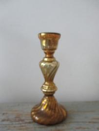 Oud Armeluiszilver/zilverglas kandelaar goudkleur SOLD