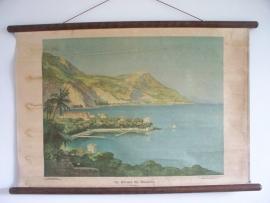 Oude schoolplaat met afbeelding van De riviera bij Beaulieu Frankrijk