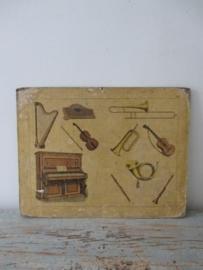Oude schoolplaat met instrumenten SOLD