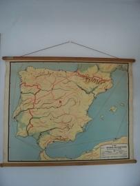 Oude schoolplaat Spanje en  portugal SOLD