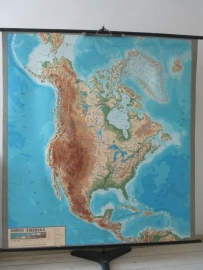 Oude schoolplaat Noord Amerika met relief SOLD