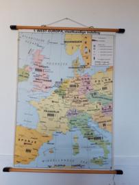 Oude schoolplaat West Europa
