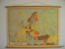Oude schoolplaat landen van Europa SOLD