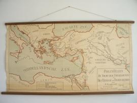 Antieke schoolplaat landen rond de middellandse zee SOLD