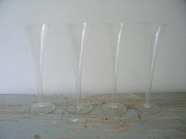 4 oude Franse champagneglazen SOLD