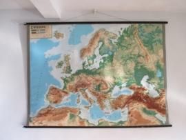 Oude schoolplaat europa XXL met relief SOLD