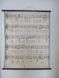 Oude schoolplaat met muzieknoten SOLD