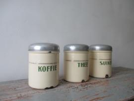 Emaille voorraadbussen koffie thee en suiker