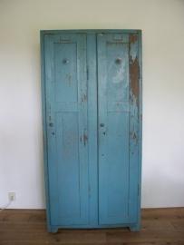 Oude houten locker / schoolkast (dubbel) SOLD