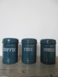 Emaille voorraadbussen koffie thee en suiker SOLD