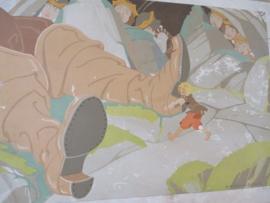 Oude schoolplaat kleinduimpje en de grote reus