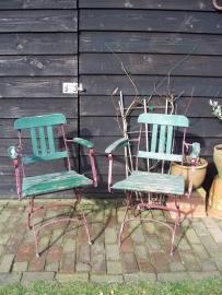 Franse houten tuinstoeltjes SOLD