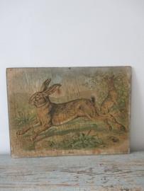 Antieke schoolplaat met de haas SOLD