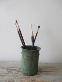 Oude zinken pot / kwastenpot SOLD