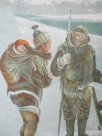 Oude schoolplaat met de eskimo SOLD
