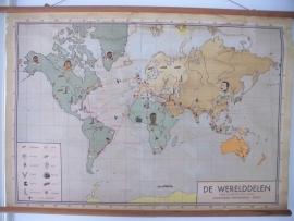 Oude schoolplaat landen met de werelddelen en zijn bewoners SOLD