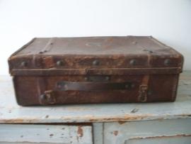 Shabby oude leren koffertje SOLD