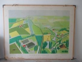 Oude schoolplaat met polderlandschap. Het oude en het nieuwe land