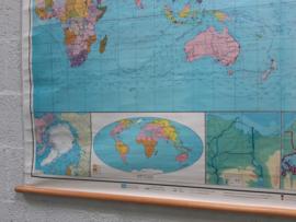 Oude schoolplaat Wereldkaart XXL