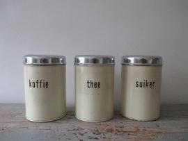 Oude voorraadbussen koffie thee en suiker SOLD