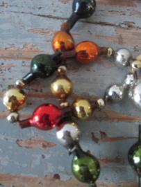 Antieke glazen kerstslingers/kralen SOLD