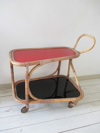 Retro vintage rotan theetrolly / theewagen SOLD