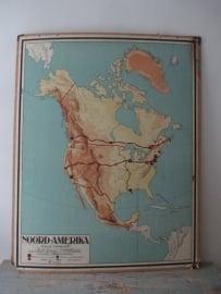 Oude schoolplaat Noord- Amerika SOLD