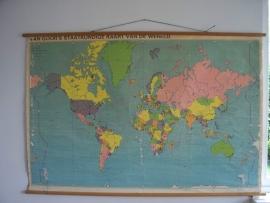 Oude schoolplaat Wereldkaart SOLD