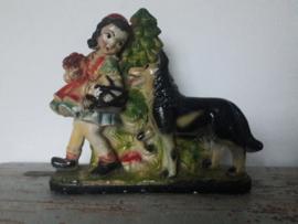 Oud beeld van rood kapje en de boze wolf SOLD