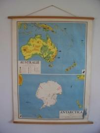 Oude schoolplaat Australie / Antartica SOLD