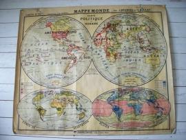Oude Franse schoolplaat Wereldkaart SOLD