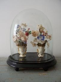 Antieke Franse vaasjes met bloemetjes SOLD