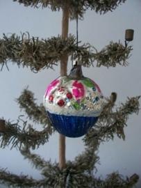 Oude antieke kerstbal bloemenmand SOLD