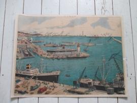 Oude schoolplaat met de haven / boten en schepen SOLD