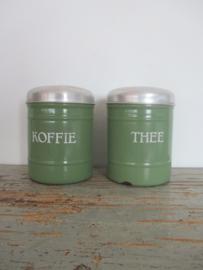 Emaille voorraadbussen koffie  en thee SOLD