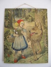 Oude schoolplaat roodkapje en de wolf SOLD