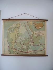 Oude schoolplaat Denemarken / IJsland